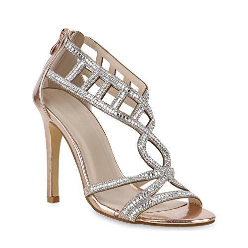 Damen Sandaletten Riemchensandaletten High Heels Metallic Schuhe 153665 Rose Gold Strass Carlet 38 Flandell