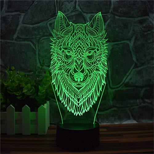 Lumière Ambiante, Underworld Wolf 3D Night Light, Lampe de table LED pour la décoration intérieure USB, Télécommande tactile 16 couleurs dégradé Creative Decor de bureau, Cadeaux créatifs, Cadeaux pou