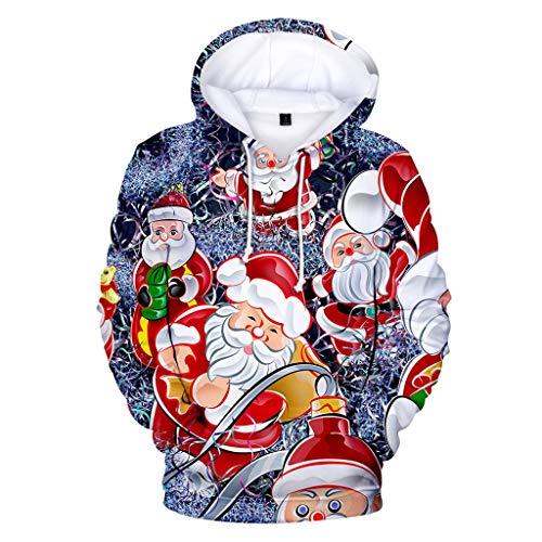 serliy😛Weihnachten Kapuzenpullover Herren Damen Weihnachtspullover Sweatshirt Langarm Schneemann Drucken Christmas Hoodie Kapuzen Oberteil Weihnachtspulli Loose Longpullover