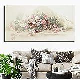Arte Pop Floral Abstracto póster de Gran tamaño decoración Moderna para el hogar Cuadro Floral Lienzo,Pintura sin Marco,75x150cm