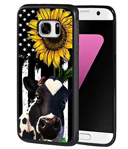Galaxy S7 Case, BWOOLL Slim Anti-Scratch Rubber Protective Case Cover for Samsung Galaxy S7 - American Flag Sunflower and Cow
