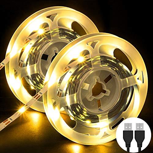 Striscia LED, OMERIL 6M (2x3m) Strisce LED con 3000K Luce Gialla Calda, Plug 'n' Play, USB alimentata LED Striscia per Guardaroba, TV, Cucina, Salotto, Bar, Camera da Letto ecc