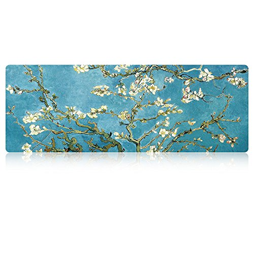 LIEBIRD - Van Gogh Almond Blossoms Mouse Pad -31.5Lx11.8Wx0.12H- Extended Gaming Mouse Pad Portable Large Desk Pad for Laptop - Non-Slip Rubber Base