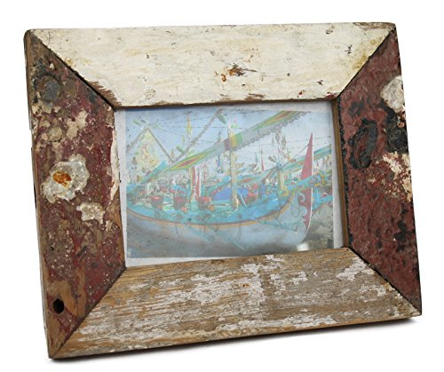 Bilderrahmen Fotogalerie aus Teakholz Massivholz Holz Glas schwemmholz Foto 25x20x2,8cm / Rötlich - beige