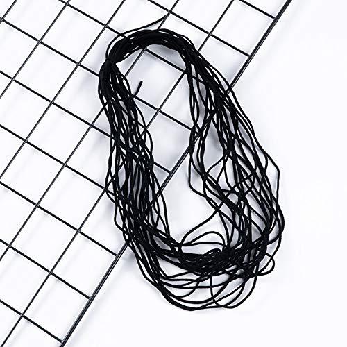 HSJWOSA Organizado 3mm 50 Metros Blancos Banda Negra Negra de la Banda elástica de la Oreja elástica de la Oreja Colgante de la Cuerda Hecha a Mano de la Cinta elástica de la máscara Ventajoso