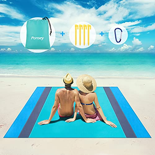 Picknickdecke Wasserdichte Stranddecke, 200x200cm Tragbare Große XXL Stranddecke Sandfrei Matte Strandtuch mit Reißverschlusstaschen Campingdecke für Strand, Park, Camping, Wandern, Familienkonzerte