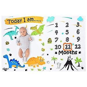 WERNNSAI Dinosaurio Manta de Hito Bebé Mensual - Suave Franela Guardería Mantas de Cama para Muchachos Baby Shower Regalos Recién Nacido