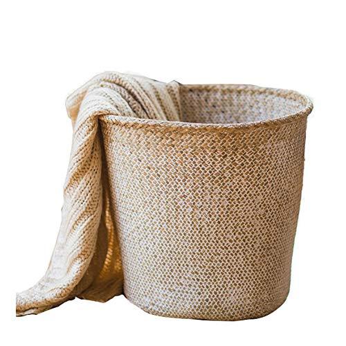 Coton Corde Panier à Linge Grande, Décorative Tissé Panier Panier de vêtements Jouet Stockage Bébé Sac a Linge-C 38x36cm(15x14inch)