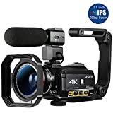 ORDRO HDR-AC3 Video Camera Ultra HD 4k Camcorder with Microphone,1080P 60fps, Digital Zoom, 3.1' IPS, Wi-Fi Camera Recorder with Infrared Night Vision, Wide Angle Lens and 2 Batteries
