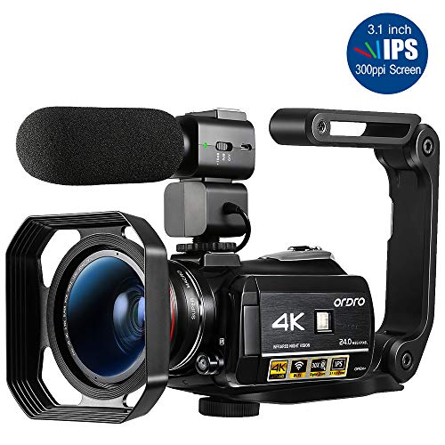"""ORDRO HDR-AC3 Video Camera Ultra HD 4k Camcorder with Microphone,1080P 60fps, Digital Zoom, 3.1"""" IPS, Wi-Fi Camera Recorder with Infrared Night Vision, Wide Angle Lens and 2 Batteries"""