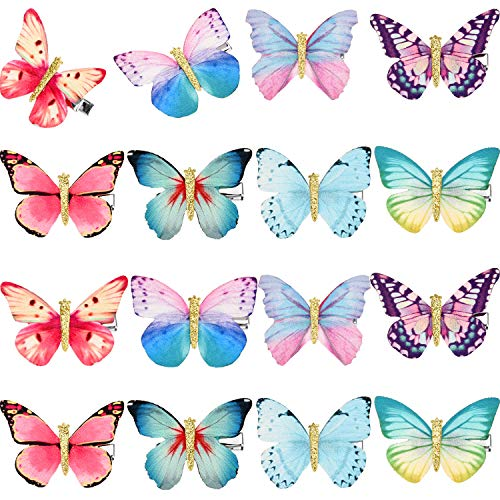 16 Pieces Butterfly Clips Baby Hair Clips Butterfly Glitter Barrette for Women Girl and Infant (Bright Style)