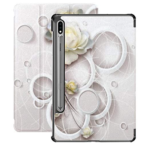 Galaxy Tablet S7 Plus Custodia da 12,4 pollici 2020 con portapenne S, 3d Rings Flowers Wallpaper Custodia protettiva Folio Slim Stand per Samsung