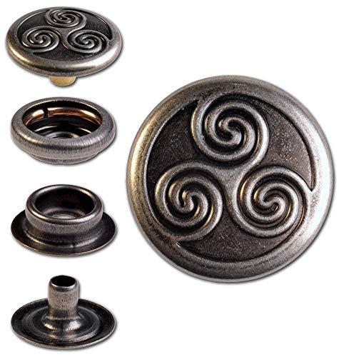 Hoppe & Masztalerz 100 Ringfeder-Druckknöpfe F3 Keltische Triskele 17mm aus Messing (nickelfrei), Finish: Nickel-antik, Verschlusskraft: stark