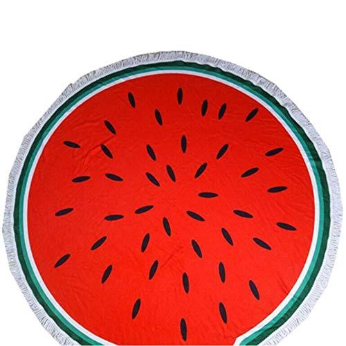 Markcur Strandtücher Runde Boho Yogamatte Teppich Handtuch Tapisserie Badetuch Sonnenschutz Schal ca.150cm Wassermelone-stil