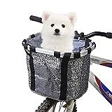 Rengzun Cesta para Bicicleta, Canasta de Manillar de Bicicleta Plegable, Cesta Delantera de Bici Impermeable Desmontable para Porta Mascotas, Camping al Aire Libre, Picnic