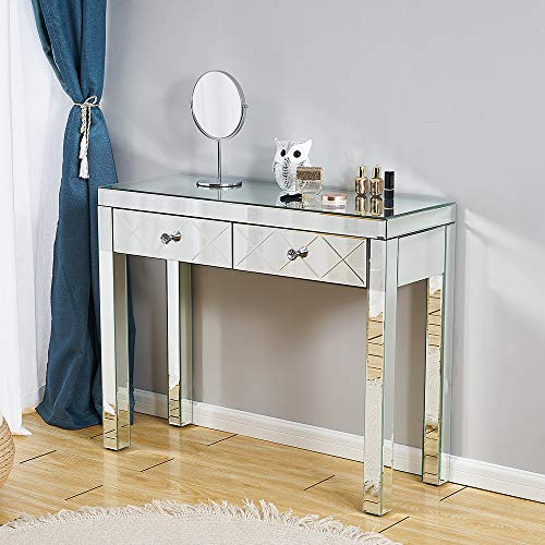 Panana Mirrored Dressing Table with Crystal Glass Makeup Dresser Cosmetic Vanity Desk Console Table Bedroom Home
