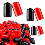 90 Pieces Screw Rubber Thread Protector Safety Cover Vinyl Flexible Rubber End Caps for Tubular Steel Wood or Plastic, Black and Red Assorted 1/4 Inch to 1/2 Inch 3 Sizes