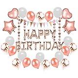 SUNBEAUTY Decorazione di Compleanno in Oro Rosa Palloncini in Alluminio di Happy Birthday Palloncini Catena di Gagliardetti Oro Rosa Ghirlanda Ragazze Festa di Compleanno