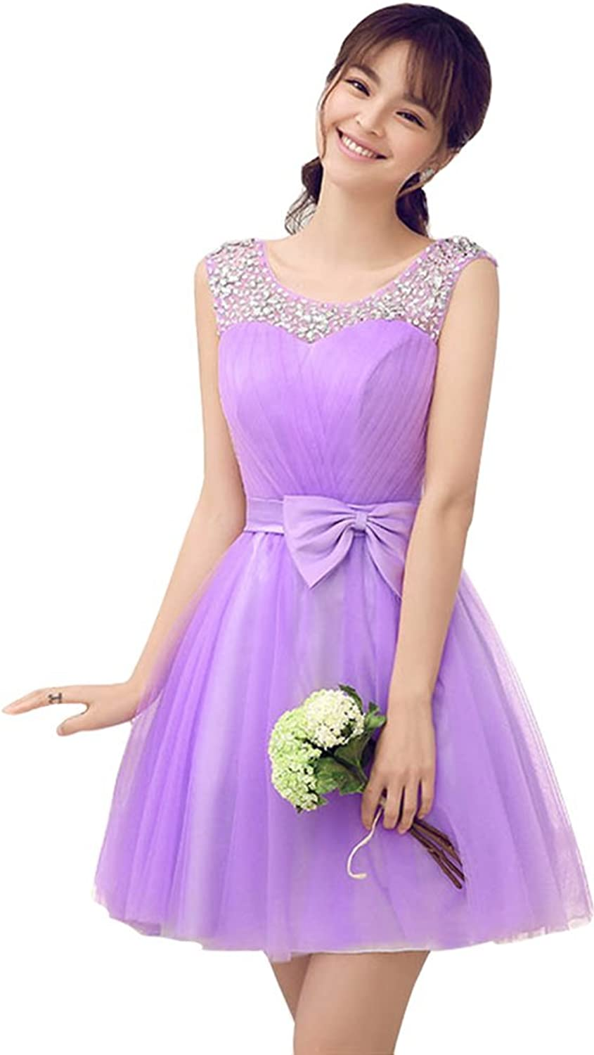 Drasawee Women Mini Short Bridesmaid Dress Junior Prom Party Gowns Purple C Small