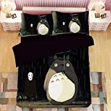 Aopostall Totoro Duvet Cover Set Anime Bedding Cartoon Character Bed Sets 3PCS Realistic Quilt Covers/Pillowcases,Twin/Full/Queen/King Size