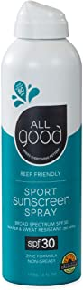 All Good Sport Mineral Sunscreen Spray - SPF 30 - Zinc Oxide - Coral Reef Safe - Water Resistant - UVA/UVB Broad Spectrum ...