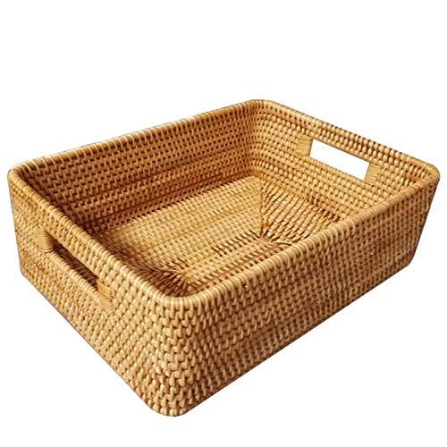Cesta de almacenamiento hecha a mano de ratán, cesta de almacenamiento de algas marinas tejida de bambú para sala de estar o escritorio, cesta tejida con asa (tamaño: L)