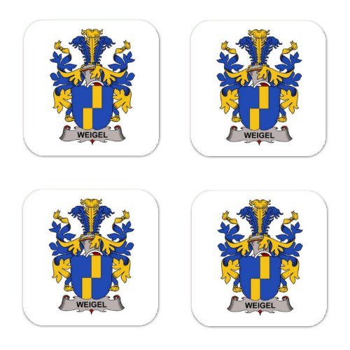 Weigel Family Crest Square Coasters Coat of Arms Coasters - Set of 4