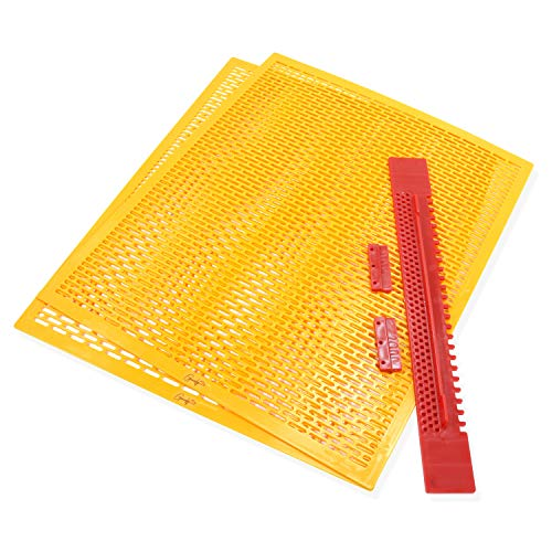 Geniely Pack of 2 Queen Bee Excluders - Fits All 10 Frame Langstroth Hives - Plastic Barrier for Beekeeping and Separating Queen Bees from Honey Supers - Complete with Beehive Entrance Reducer