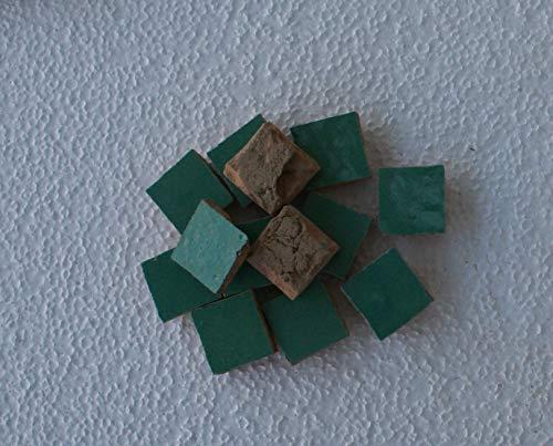 20 Stk. marokkanische Tonfliesen Zellige lindgrün glasiert 3,3x3,3 cm