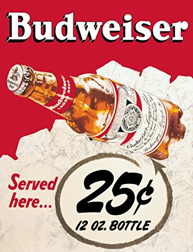 Novelty Retro Vintage Wall tin Plaque 20x15cm - Ideal for Pub shed Bar Office Man Cave Home Bedroom Dining Room Kitchen Gift - Budweiser Bud Beer Lager Bottle - Decorative Sign