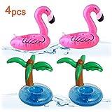 Lezed 4 Pcs Gonflable Pool Coasters Porte-gobelet, Porte-Bouteille Gonflable, Porte-Boisson Gonflable pour Summer Pool Party Deco, Porte-gobelet Tasse de jus de Jouet (2 Flamingo + 2 Palm)