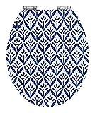 WENKO Premium WC-Sitz Lorca, Toilettensitz mit Easy-Close Absenkautomatik, WC-Deckel für sanftes Deckelschließen mit rostfreier Hygienebefestigung, MDF, 37,5 x 44 cm, Weiß-Blau