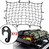 PERFETSELL Cargo Net 120*90CM Elastic Roof Luggage Net Heavy Duty Bungee Cargo Net Latex Truck Bed Mesh with...