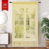 AIZESI 2 Stück Fadenvorhang 90x 200cm Insektenschutz Faden Türvorhang Trennwand Fenster Vorhang Wohnzimmer Gardine Raumteiler(Champagner)