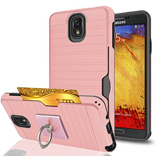 Note 3 Case,Galaxy Note 3 Case with Phone Stand,Ymhxcy [Credit Card Slots Holder][Brushed Texture] Dual Layer Shockproof Protective Cover for Samsung Galaxy Note 3,Note III,N9000,N9005-LCK Rose Gold