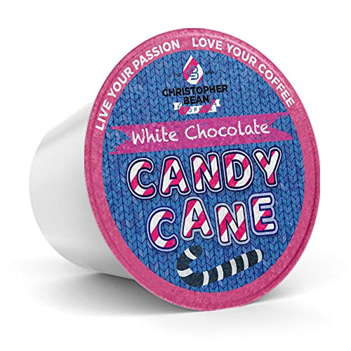White Chocolate Candy Cane Single Cup (Regular), Holiday Coffee Christopher Bean Coffee. (18 Count Box) Seasonal Gift Christmas, Compatible With K Cup Brewer