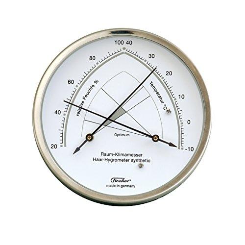 Raumklimamesser von Fischer, mit Hygrometer und Thermometer - Edelstahl 130mm, Artikel 146.01, Made in Germany