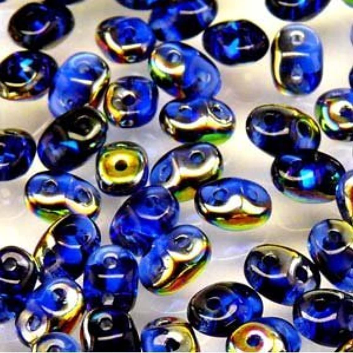 Czech SuperDuo Two-Hole Seed Crystal Beads 5.5x2.5mm Sapphire Vitrail 22gram