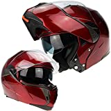 3GO E335 ECE ACU Casco de Moto Modular Protección de Carreras de Bici Aprobada en Oro con Visera Solar Integrada (Borgoña, M (57-58 CM))