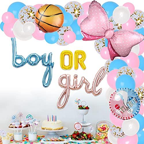 Baloncesto o decoración de arcos revelación de género tiro libre o arcos rosados kit de guirnalda de globos kit de guirnaldas revelación de género para niños niñas rosa azul suministros para fiestas