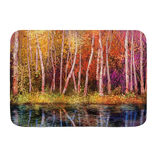 """WINCAN Bath Mat Rug,Flower Fall Trees Along with Lake Fall in Jungle Natural Paradise Best Places in Earth,Plush Bathroom Decor Mats with Non Slip Backing,29.5"""" X 17.5"""""""