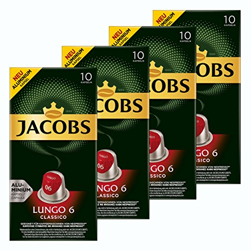 Jacobs Lungo 6 Classico, Kaffeekapseln, Nespresso Kompatibel, Kaffee, 40 Kapseln, á 5.2 g