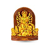 Rare Planet Maa Durga Murti, Goddess Durga Idol for Home and Office Decor, Terracotta Design MATA Sherawali Sculpture, AshtaBhuja Roop Statue, Golden Colour ,Small Size and Premium Quality