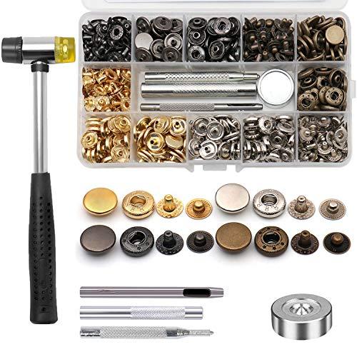 Ailiver - Botones de presión de metal, 120 sets de 4 colores, cierre de remaches, de piel, botón de metal y clavijas de prensa con 5 herramientas de fijación