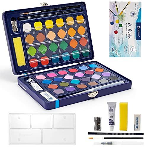 Sivaopa Aquarellfarbkasten, 48 Wasserfarben Aquarellfarben Set, Festes Pigment für Kind, Aquarell Malkasten für Anfänger und Profis