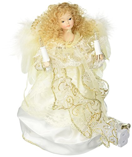 kurt adler 10 light angel christmas tree topper figurine 9 inch ivory and gold