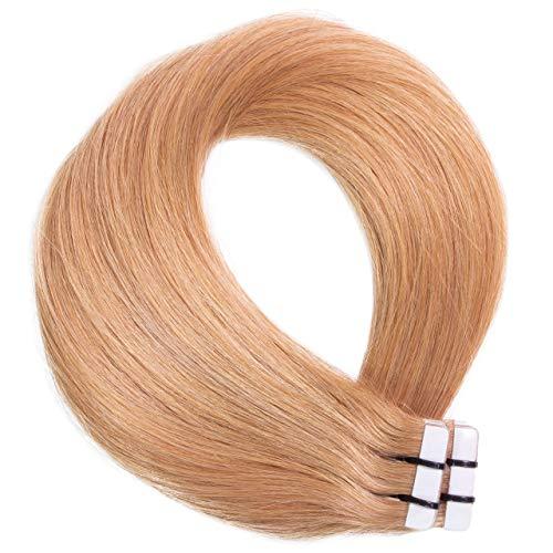 Just Beautiful Hair Lot de 10 mèches d'extensions en cheveux naturels Remy Hair Couleur 27 Blond foncé doré foncé 50 cm 2,5 g