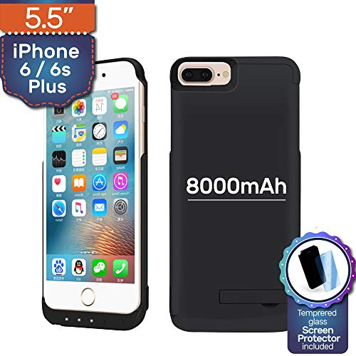NRO Battery Case for iPhone 6 PLUS / 6s PLUS ONLY (5.5 Inch, NOT 4.6 Inch) Upgraded 8000mAh Portable Rechargeable Extended Battery Pack Protective Charging Case with Screen Protector + Kickstand