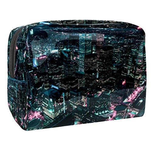 Tizorax Sac de maquillage en PVC avec photo aérienne de la ville de nuit, trousse de maquillage pratique pour les femmes