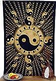 Guru-Shop Linge de Maison Indien, Dessus de lit en Batik - Ying Yang/ocre, Jaune, Coton, 190x140 cm, Couvre-lits Mandala Serviettes Murales